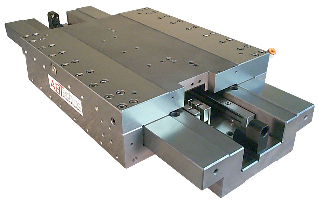 Air bearing linear stage for demanding motion applications requiring no static friction