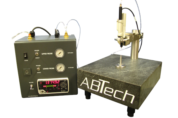 ABTech's thickness gage allows user to accurately measure thickness down to 1 micron without part holding or micrometer.
