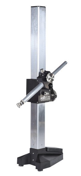 "Inspection style gage stand with 24"" vertical square post, available with 12"", 14"", 18"" horizontal arm"