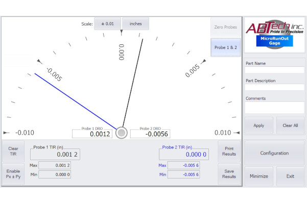 MicroTIR software -TIR meter / setup screen example